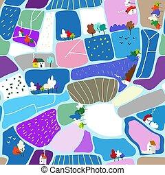 Winter landscape seamless pattern illustration