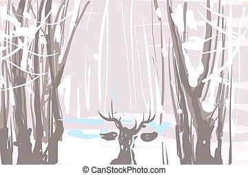 Winter landscape sketch with deer vector illustration