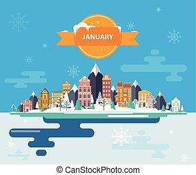 Winter landscape. Small town