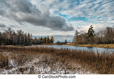 Snowfall on the lake in the winter park. Gatchina.