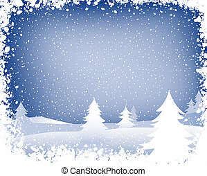 winter landscape - fir forest in wintertime with falling...