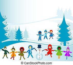 winter landscape - children playing in a winter landscape;...