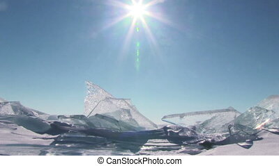 Winter landscape. - Winter Baikal. Ice against clear sky and...