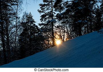 Winter landscape. Sunset over the forest on snowy hillside