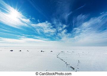 Winter landscape. The Ob River, Western Siberia - Snow-...