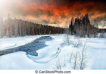 Winter landscape. The Pista River. Karelia.