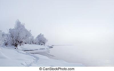 Winter landscape. Trees and bushes with hoarfrost. The water...