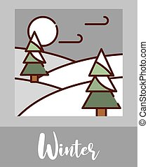 winter landscape trees snow cold cartoon, filled line flat colors
