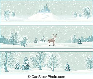 Winter Landscape Vector Banners
