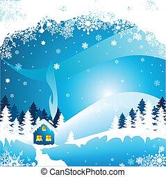 Winter Landscape - Vector illustration of an beautiful...