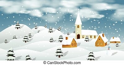 Winter landscape - Vector illustration of winter landscape