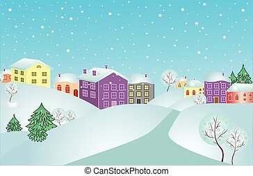 Winter landscape, vector illustration. See my gallery for more