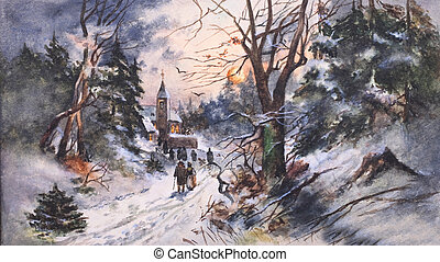 winter country painting , which is created by me