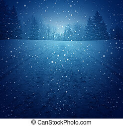 Winter landscape concept as a snowing blue background with a pedestrian road in perspective with foot prints leading to a forest of trees as a festive seasonal symbol of a tranquil and traditional holiday scene.