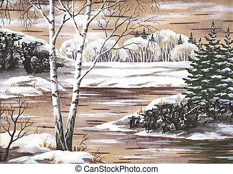 Winter landscape - Winter natural landscape. Handmade,...