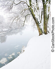 winter landscape - winter river and trees in winter season