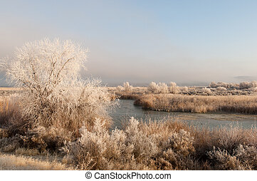 Winter wonderland riverscape in rural Idaho
