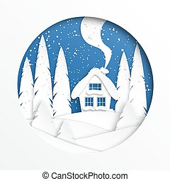 Winter landscape with a house in the circle. Paper cut style. Snow design. Vector illustration
