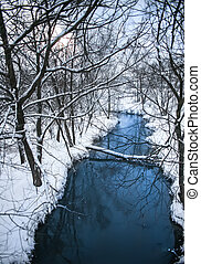 Winter landscape with a river and trees in the snow