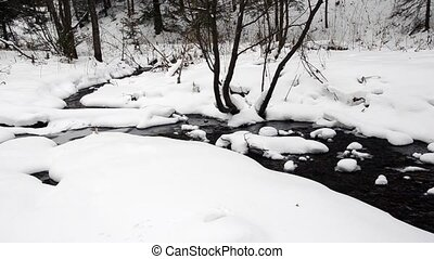 Winter landscape with a running brook in the forest.