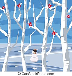 Winter landscape with a snowman with birds sitting on trees in flat cartoon design in vector illustration