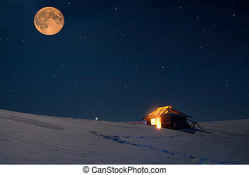 Winter landscape with a starry sky and the full moon. The...