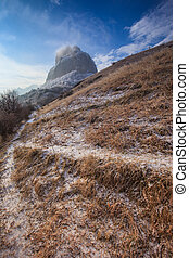 Winter landscape with a trail