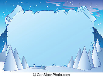 Winter landscape with blue scroll - vector illustration.