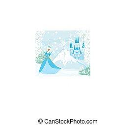 Winter landscape with castle and beautiful princess