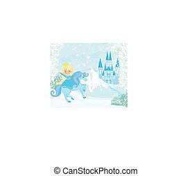 Winter landscape with castle and beautiful princess riding a horse