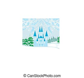 Winter landscape with castle.