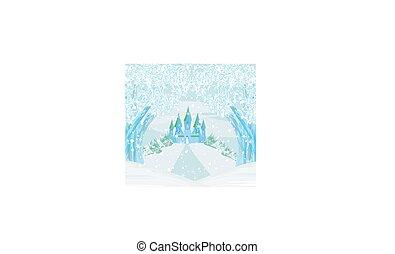 Winter landscape with castle