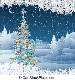 Winter landscape with Christmas tree