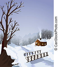 Winter landscape with cottage in the woods - Typical winter ...