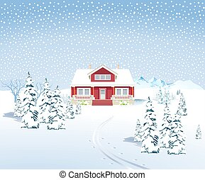 Winter landscape with country house, - vector illustration.eps
