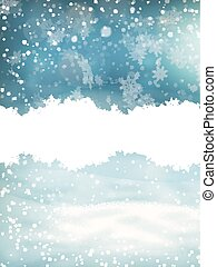 Winter landscape with falling snow. EPS 10
