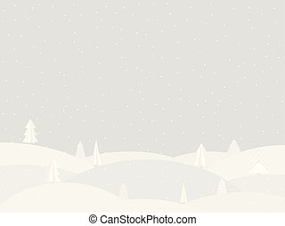 Winter landscape with falling snow. Flat style. Vector illustration