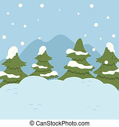 Winter landscape with fir trees, Christmas background vector Illustration