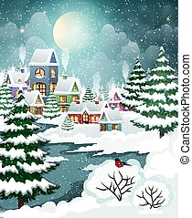 Winter landscape with forest and houses - Evening city ...
