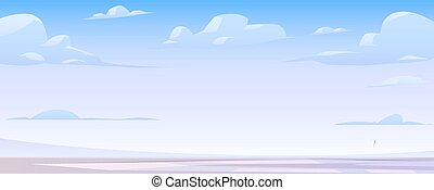 Winter landscape with frozen lake and clouds