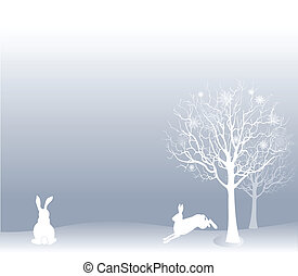 Winter landscape with hares - Minimalistic winter landscape...