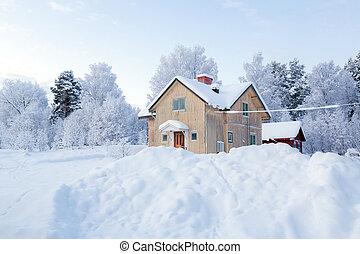 Kiruna Sweden - Winter landscape with house at Kiruna Sweden