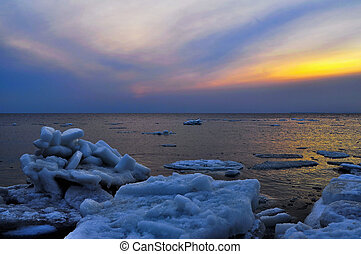 Winter landscape with ice floes