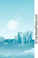 Winter landscape with iceberg