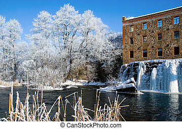 Winter landscape with icy river dam