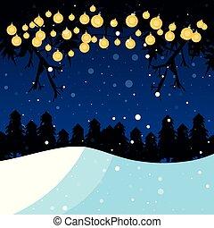 winter landscape with light bulbs scene christmas