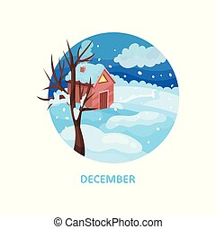 Winter landscape with little house, tree, snow on the grown and dark blue sky. December month. Cold season. Flat vector icon