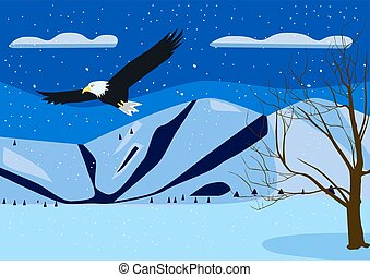 Winter landscape with Mountain Eagle
