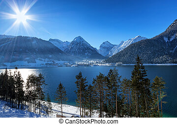 Winter landscape with mountain lake in the Alps, Achensee, Austria.