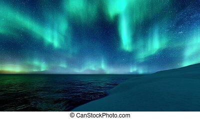 Winter landscape with Northern Lights in night sky